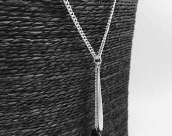 Necklace silver, asymmetrical