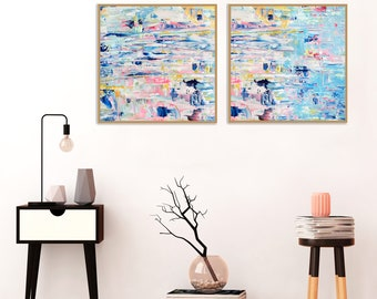 Blue Abstract Art, Set of Two Acrylic Paintings, Colourful Abstract Paintings, Original Wall Art, Vibrant Wall Pictures, Modern Prints
