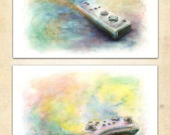 Watercolor Controller Poster Pair Wii & WiiU