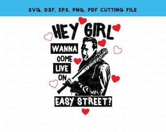 Negan Lucille Walking Dead Svg dxf eps pdg png Easy street valentines