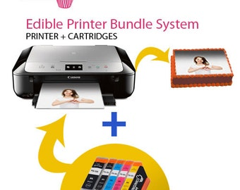 Icinginks Latest Edible Printer Bundle with Edible Cartridges , Cake Printer Canon Pixma TS5020 (Wireless+Scanner) , Edible Image Printer