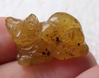 2,70gr. CAT Authentic Miniature Natural Real Hand Carved Baltic Amber Amulet
