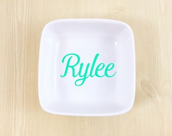 Personalized Name Ring Dish - Custom Jewelry Dish - Bridesmaid Gift - Girlfriend Gift - Wedding Gift - Gift for Wife - Monogram Ring Dish