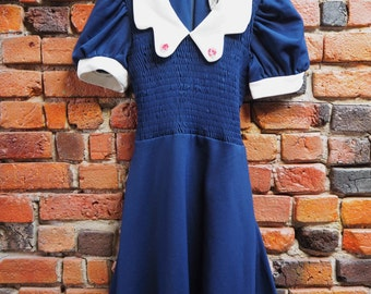 Women's 50s Navy Blue New Look Dress With Puff Sleeves White Peter Pan Collar Waist Tie Detailing Small