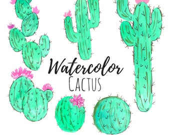 Watercolor Cactus Clip art - Floral Clip Art - Watercolor Art - Watercolor Clip Art Commercial Use