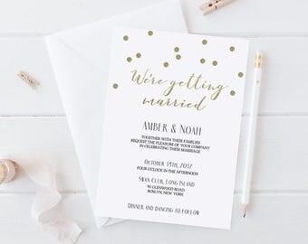 Faux Gold Foil Wedding Invitation Template Download Confetti Invitation Gold Glitter Wedding Invitation White and Gold Wedding Invitations