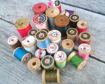 29 Vintage Spools~ Wooden Spools~ Vintage Thread Lot