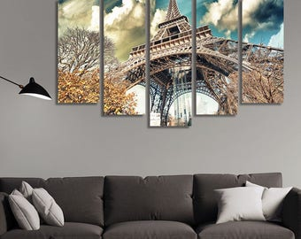 LARGE XL Eiffel Tower Paris, France Canvas Print Autumn Day in Paris Canvas Tower From The Ground Wall Art Print Home Decoration - Stretched