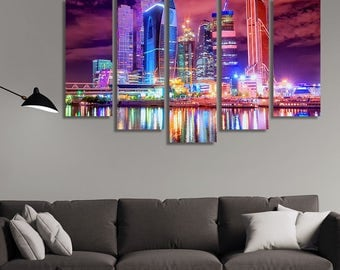 LARGE XL Moscow, Russia at Night Canvas Wall Art Print Home Decoration - Framed and Stretched - 1127