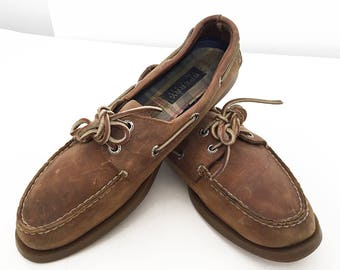 Vintage Sperry Top-Siders Brown Nubuck Suede Deck Shoes Women's 10 Men's 9 Non Marking Sole Classic Preppy Boat Shoe Loafers Nautical