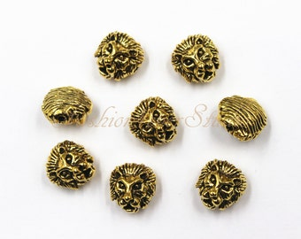 8pcs Oxidized Gold Tone Base Metal Lion Head Beads 11mmx12mm,Gold Beads Spacer Beads, Jewelry Findings, Beading Suppliers, Jewelry Suppliers