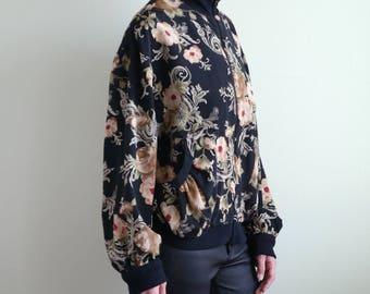 Floral Swirl Print Zip Up Jacket