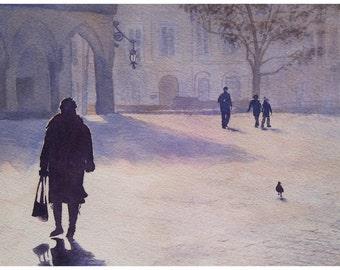 Original watercolor painting of Krakow marketplace, Rynek Główny w Krakowie