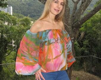Woman printed blouse / shirt sleeves long large / Top shoulder cold / /Tela fresh chiffon exclusive Holgado / modern/Antofilidesign