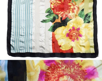 Vintage women scarf pure SILK hand rolled flowers floral
