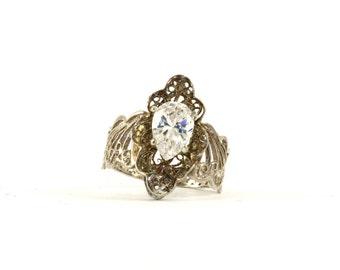 Vintage Pear Shape Crystal Filigree Design Ring 925 Sterling Silver RG 2386