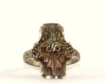 Vintage RL Signed Grapevine Design Ring 10K Gold 925 Sterling Silver RG 2051