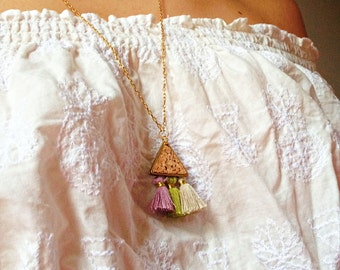 Collar necklace-triangle-Cork-tassels-lilac/green anise/greige-FRIDA