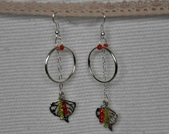 Unique and handmade. Earrings dangling, leaf and silver ring