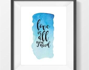 Love Is All You Need - Beatles Art Print - Digital Download - Instant Download - Printable Wall Art - Printable