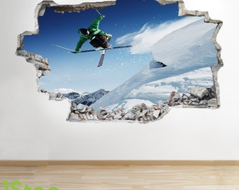Skiing Wall Sticker 3d Look - Boys Kids Bedroom Extreme Sport Wall Decal Z125