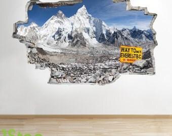 Mount Everest Wall Sticker 3d Look -  Bedroom Lounge Mountain Climbing Wall Decal Z291
