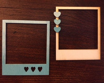 Magnetic Polaroid Frames - Teal / Aquamarine Ombre - Wood