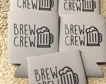 Bachelor Party Can Coolers - Brew Crew Can Coolers - Bachelor Party Gifts - Beer Can Coolers - Customized Bachelor Can Coolers - Brew Crew