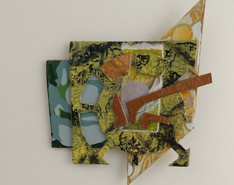 Collage Pin #6 Paper Art to Wear