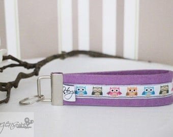 Key chain lanyard felt owls white purple
