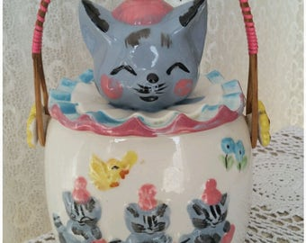 Novelty Cookie Jar 3 Little Kittens ... Kitsch Mid Century Cookie Canister Country Kitchen