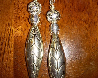 Metal Leaf Earrings with Clear Crystal Accents