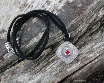 Square Silver Pendant with Blood Red Zircon