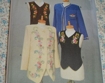 Simplicity 9891 Misses Jackets and Vests sewing PatternSewing Pattern - UNCUT - Size 12 14 16 - Jacket with Ribbon Embroidery