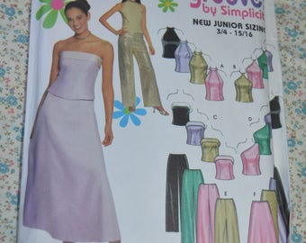 Simplicity 9775  Juniors Evening Top Pants and Skirt Sewing Pattern - UNCUT - Size 11/12 - 15 /16