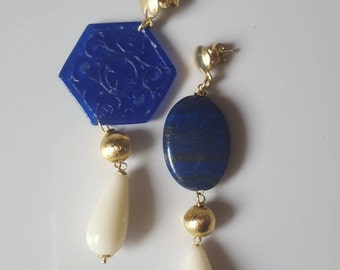 Handmade asymmetrical earrings