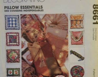 MCCALLS HOME Decorating Pillow Essentials Sewing Pattern #8661 NEW Uncut