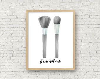 Black and White Makeup Art Print // Brushes Instant Digital Printable // Vanity Wall Decor // Simple Greyscale Glamour Print // Minimalist