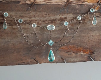 Edwardian Aqua Paste Festoon Necklace