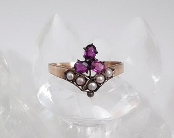 Victorian Amethyst Pearl Gold Ring