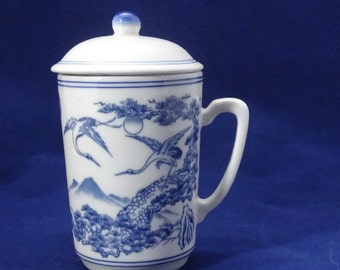 4 Ceramic Mugs with Lids, Asian Motif with Blue Cranes, Mountains, and Trees, Covered Tea Cup, Coffee Mug, Set of 4