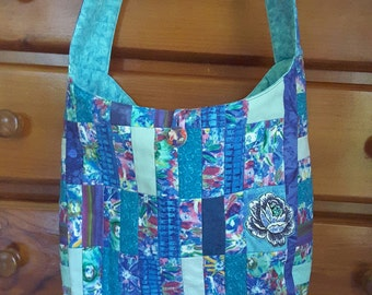 Quilted Tote Bag Patchwork Blue Mothers Day Gift, Woman Gift, Christmas Gift for Mum * Free Matching Wallet