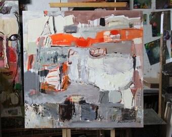 Abstract painting Square format Unique Art Interior design 107h109 cm