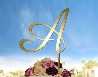 Letter A, Single Letter Monogram Wedding Cake Topper With Your Initial,  Wedding Cake Topper Letter Monogram in Gold Color or Custom, CT#031
