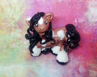 Polymer Clay Horse, Pony Figurine, Handmade Horse, Clay Horse, Clay Pony, Brown Horse figurine, Horse sculpture