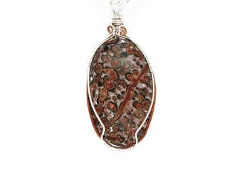 Multicolored Ocean Jasper Pendant Wrapped in Sterling Silver Wire and Accented with Copper