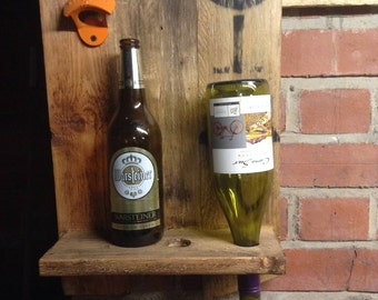 Bottle opener and wine bottle display