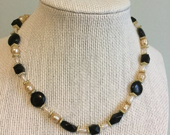 "Vintage Beads -  ""Cinema""  Upcycled Necklace - Jewelry Made with Vintage/ Recycled Materials"