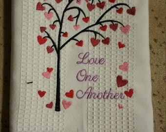 Love One Another Embroidered Kitchen Towel