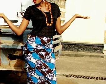 Blue African Print Pencil skirt
